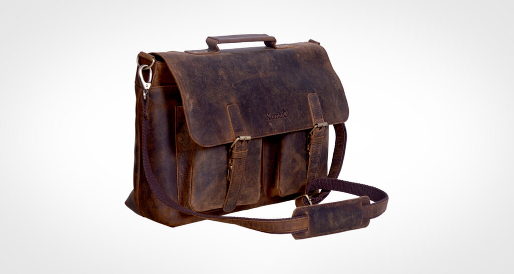 KomalC 15 Inch Retro Buffalo Hunter Leather Messenger