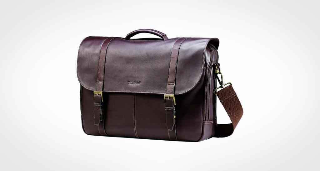 Samsonite Colombian Leather Flap-Over Laptop Messenger Bag