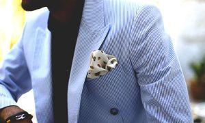 Guy white and black pocket square