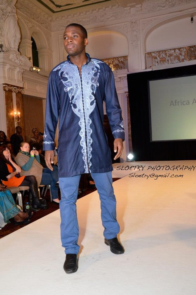 blue guinea brocade outfit with embroidery