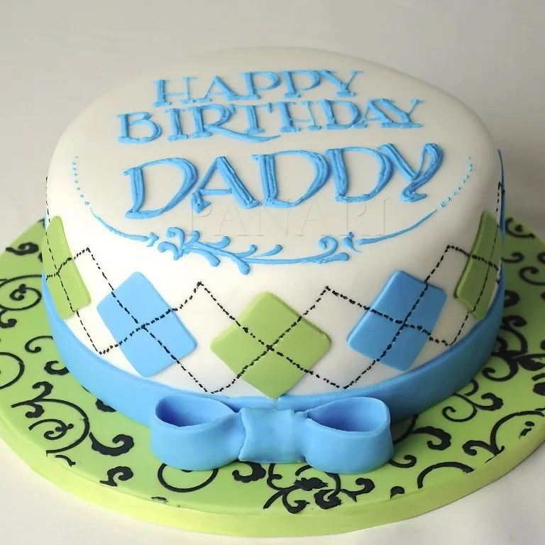 white, blue and lemon cake design for a daddy