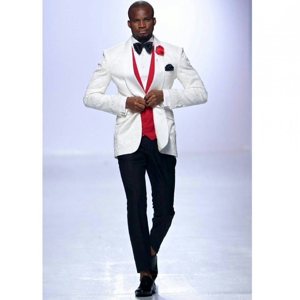 white blazer and red coat for grooms