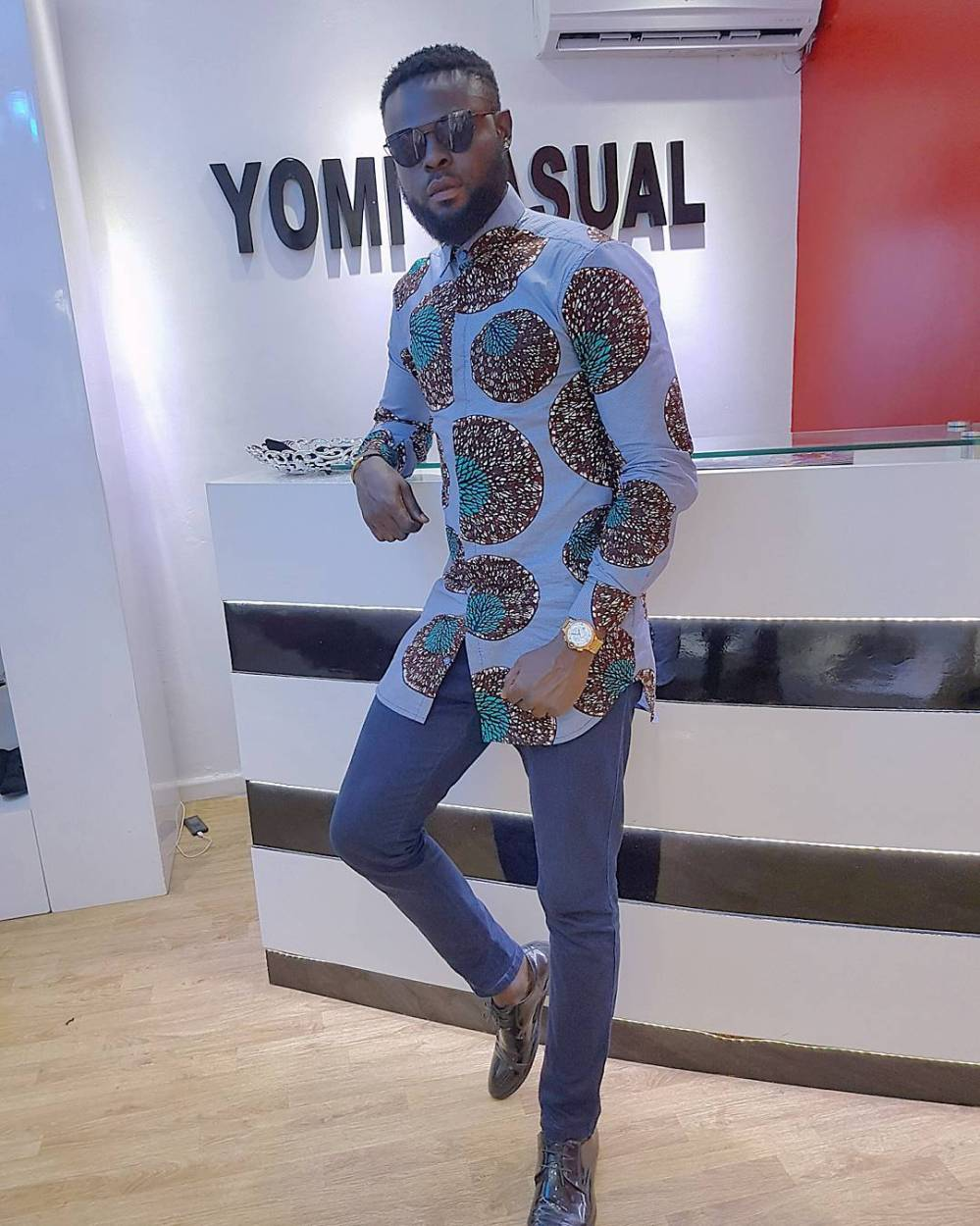 yomi casual in ankara shirt