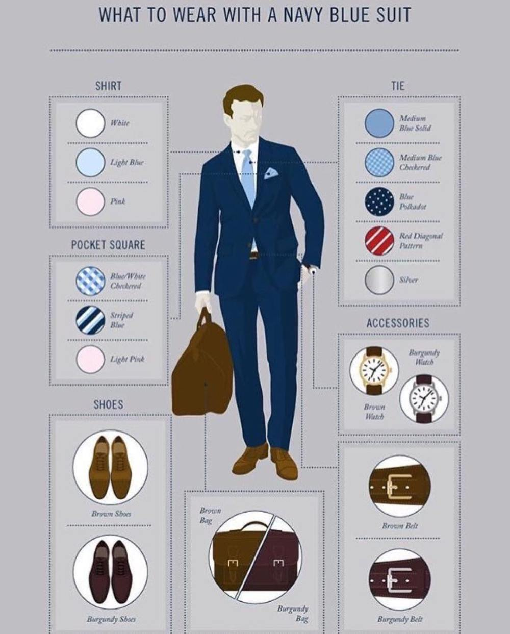 how to wear a navy blue suit with the right accesories