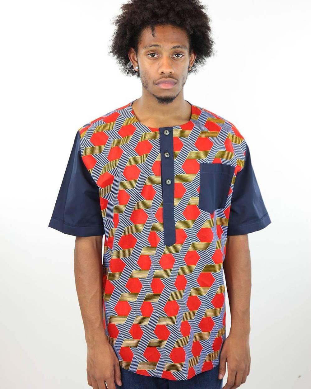 male ankara orange and blue shirt