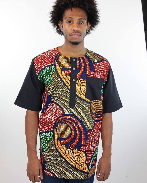 male ankara black red and blue shirt