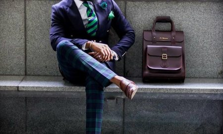 corporate outfit with leather bag