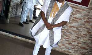 white gold and brown agbada style