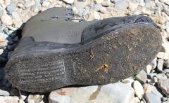 This image shows the bottom of the Simms Freestone Boot Felt sole.