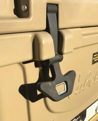 This Cabela's Polar Cap Equalizer Cooler review photo shows the latches with bottle openers.