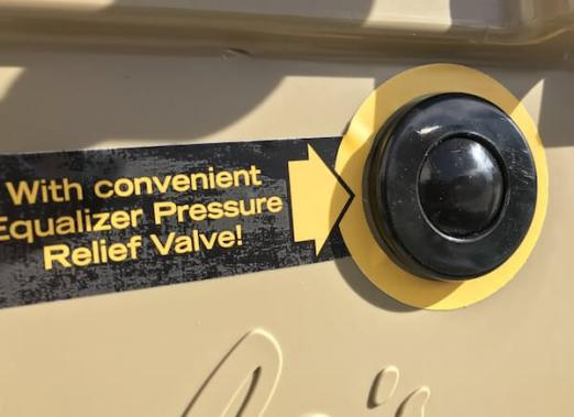 This Cabela's Polar Cap Equalizer Cooler review image shows the pressure relief valve.