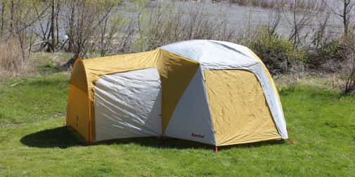 This photo shows the Eureka! Boondocker Hotel 6 Tent set up.