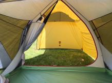 This photo shows the Eureka! Boondocker Hotel 6 Tent inside to garage.