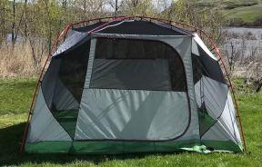 This photo shows the Eureka! Boondocker Hotel 6 Tent main cabin.