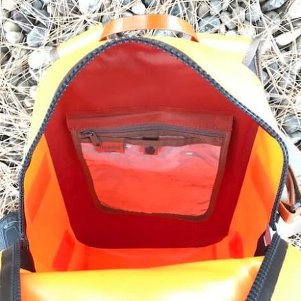 This photo shows the inside of the Fishpond Thunderhead Submersible Backpack.