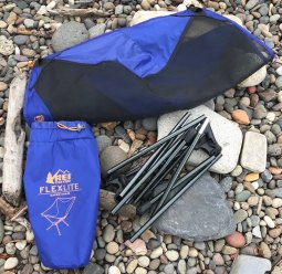 This photo shows the REI Co-op Flexlite Macro Camp Chair disassembled.