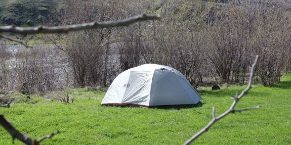 This REI Co-op Half Dome 4 Plus review photo shows the 4-person backpacking tent set up with the rain fly on.