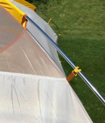 This photo shows the aluminum poles on the Big Agnes Big House 4 Deluxe tent.