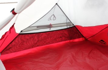 This photo shows the MSR Hubba Tour 2 Tent shows the interior of the tent vents and storage pockets.