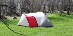 This photo shows the MSR Hubba Tour 2 Tent set up with the vestibule door shut.