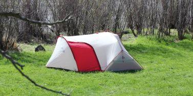 This photo shows the MSR Hubba Tour 2 Tent set up with the vestibule door shut.