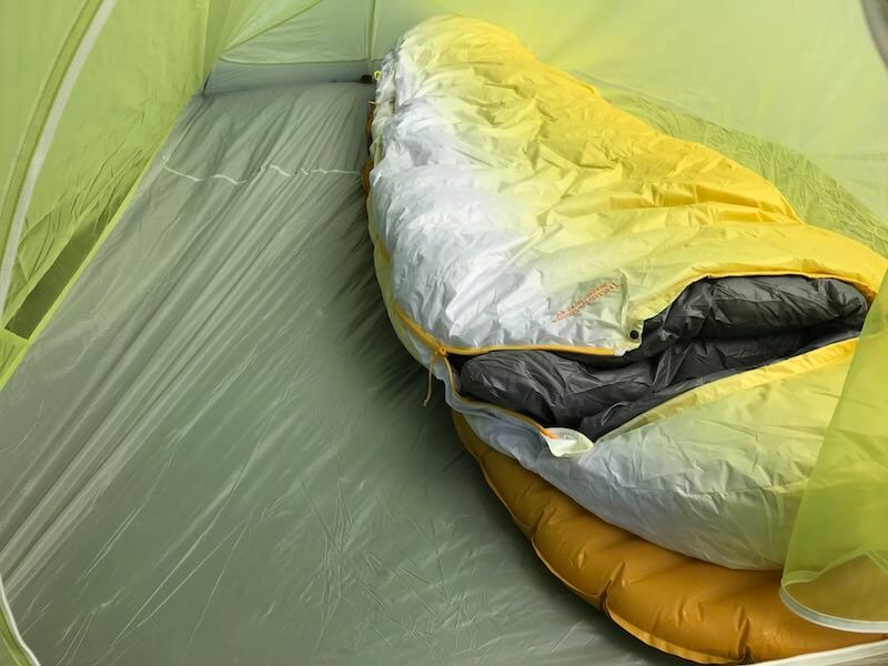 This photo shows the Big Agnes Fly Creek HV2 Platinum tent interior with a sleeping pad and sleeping bag.