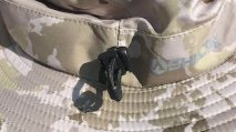 This photo shows the rear cinch cord on the Shelta Seahawk hat.