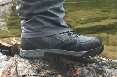 This photo shows the Orvis Ultralight Convertible Waders worn with the Orvis Ultralight Convertible Wading Boots.