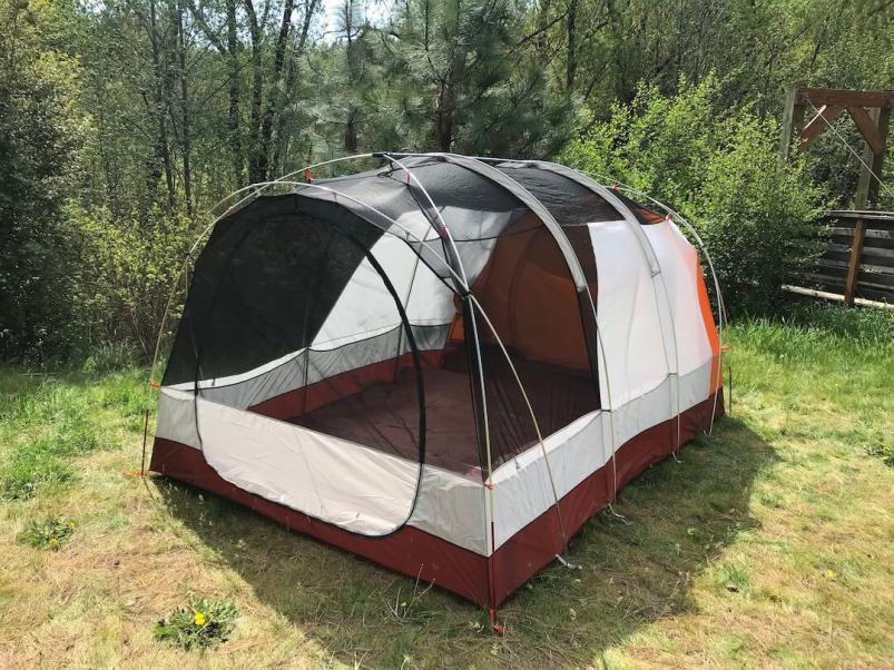 This photo shows the REI Co-op Kingdom 8 Tent without the rain fly.