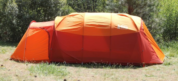 This photo shows the REI Co-op Kingdom 8 Tent setup from a side view.