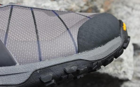 This photo shows the protective TPU overlay and toe rand on the Simms Flyweight Wading Boot.