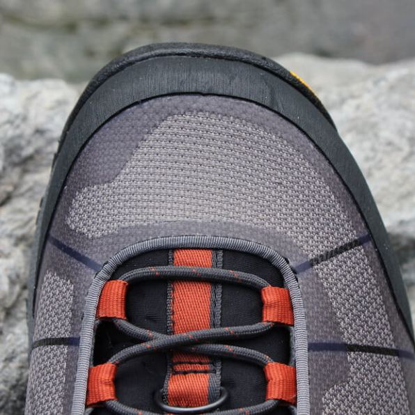This review photo shows the top of the Simms Flyweight Wading Boot.
