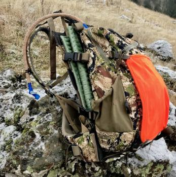 This photo shows the Mystery Ranch Mule hunting backpack outside.