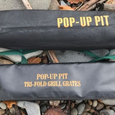 This photo shows the carry bag for the Fireside Outdoor Pop-Up Fire Pit.