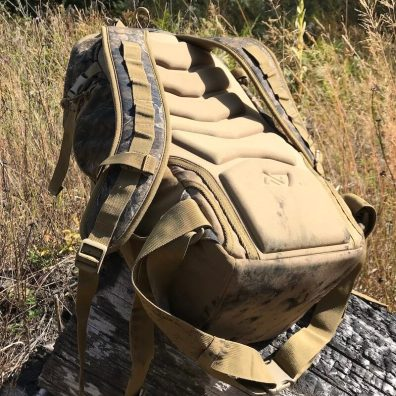 This photo shows the back padding on the Nexgen Outfitters Whitetail Caddy Pack.