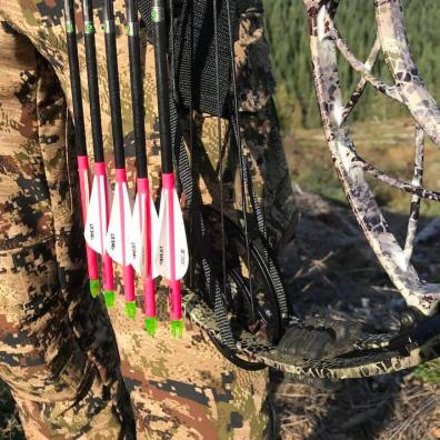 This photo shows the Bow Buddy Sling Loop system over the bottom cam of a compound hunting bow in a vertical position.