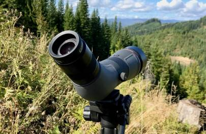 This photo shows the Cabela's CX Pro HD Spotting Scope in the 65mm version on a tripod.