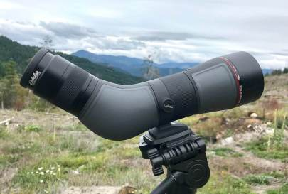 This photo shows the side view of the Cabela's CX Pro HD Spotting Scope.