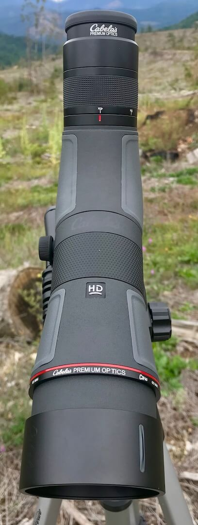 This photo shows the top of the angled 65mm Cabela's CX Pro HD Spotting Scope.