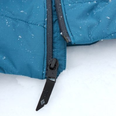 This photo shows the zipper on the Black Diamond First Light Stretch Hoody.