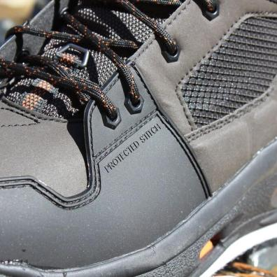 This photo shows a closeup of the protected stitching on the Korkers Terror Ridge wading boots.