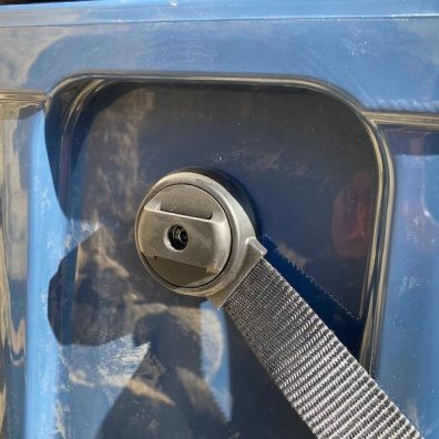 This photo shows the swivel attachment point of the handle on the YETI Roadie 24 cooler.