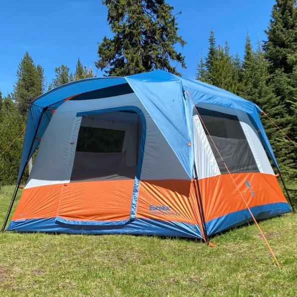 This review photo shows the Eureka! Copper Canyon LX 6 Tent set up outside for camping.
