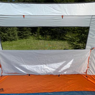 This review photo shows the tent from the inside with a window half open.