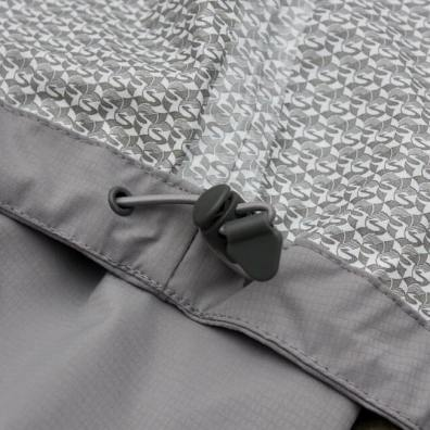 This photo shows the interior fabric on the Showers Pass Elements Jacket.
