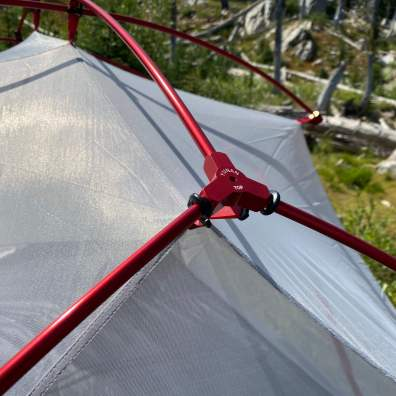 This photo shows the aluminum poles for the L.L.Bean Mountain Light HV Tent.