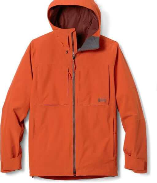 This photo shows the men's REI Co-op First Chair GTX Jacket in copper spice color.