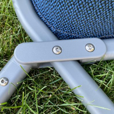 This photo shows a closeup of the frame of the YETI Trailhead chair.