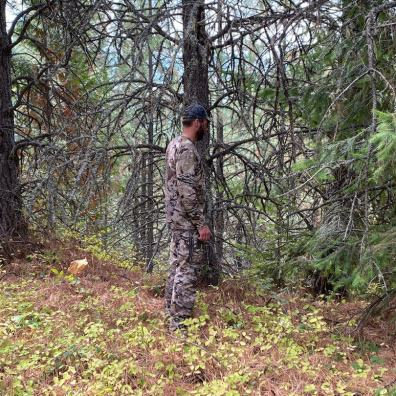 This photo shows the author testing the UA camo pattern in a timbered environment.