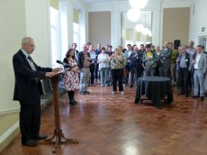 Lord Mayor Eddy Newman addresses delegates at Manchester Central Library